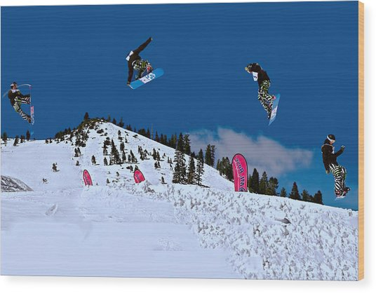 Snow Boarder Wood Print
