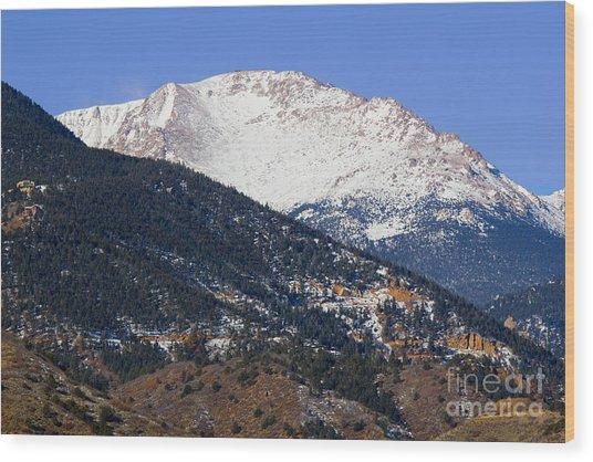 Snow Capped Pikes Peak In Winter Wood Print