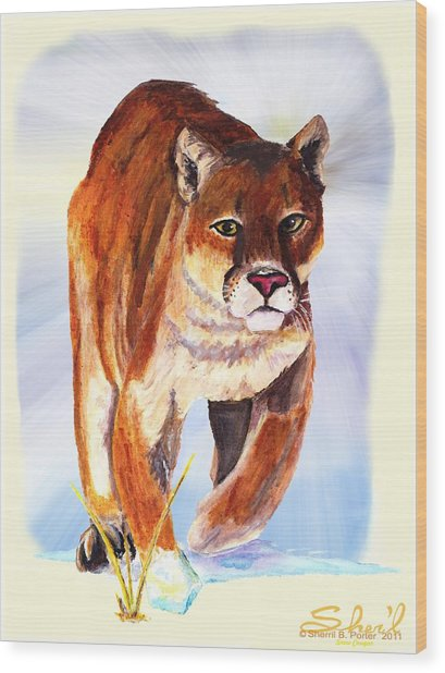 Snow Cougar Wood Print