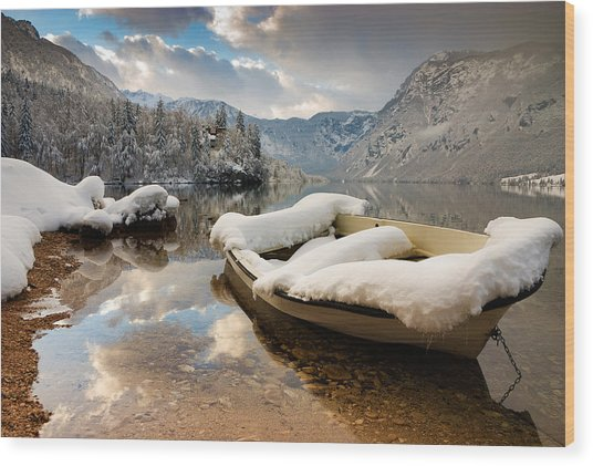 Snow Covered Boat On Lake Bohinj In Winter Wood Print