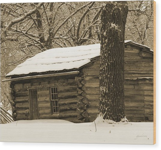 Snow Covered Gardner Cabin Wood Print