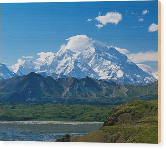 Snow-covered Mount Mckinley, Blue Sky Wood Print