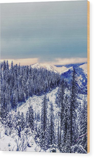 Snow Covered Mountains Wood Print