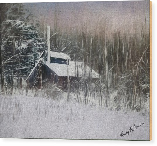 Snow Covered Vermont Sugar Shack.  Wood Print