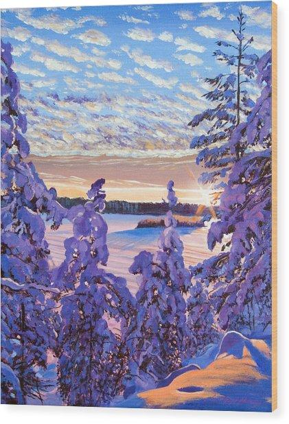 Snow Draped Pines Wood Print by David Lloyd Glover