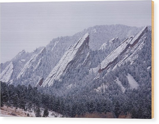 Snow Dusted Flatirons Boulder Colorado Wood Print