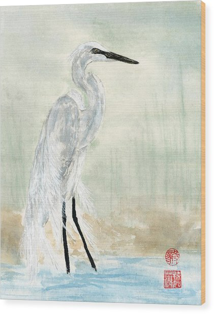 Snow Egret Wood Print