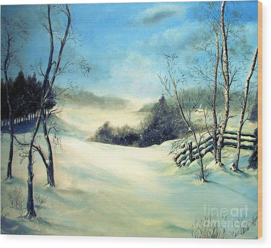 Snow Flurries Wood Print