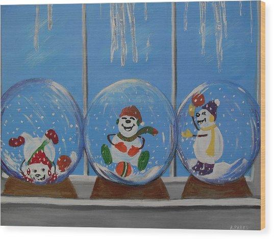 Snow Globes Wood Print