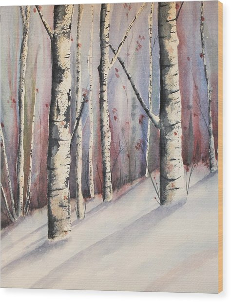 Snow In Birches Wood Print