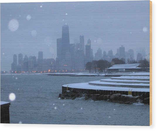 Snowy Chicago Wood Print