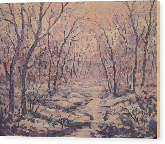 Snow In The Woods. Wood Print