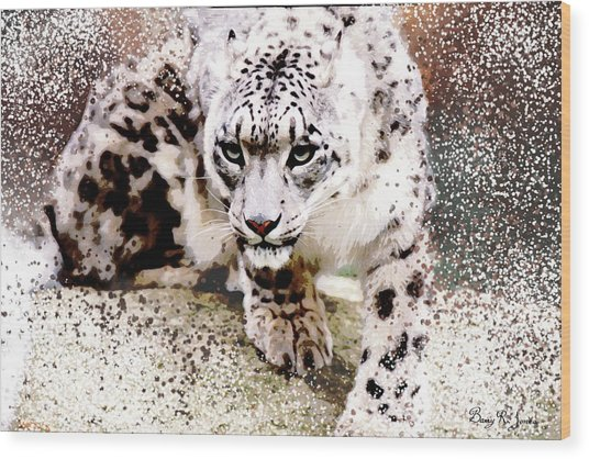 Wood Print featuring the digital art Snow Leopard by Barry Jones