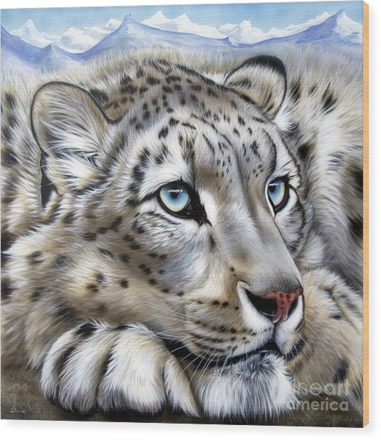 Snow-leopard's Dream Wood Print