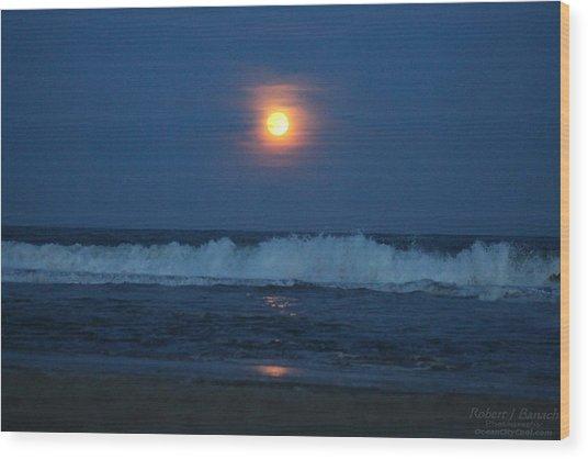 Snow Moon Ocean Waves Wood Print