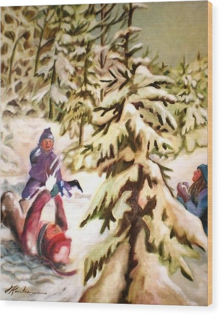 Snow - Neige Wood Print
