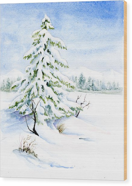 Snow On Evergreens Wood Print