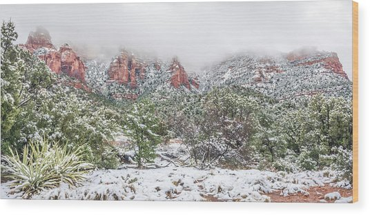 Snow On Red Rock Wood Print