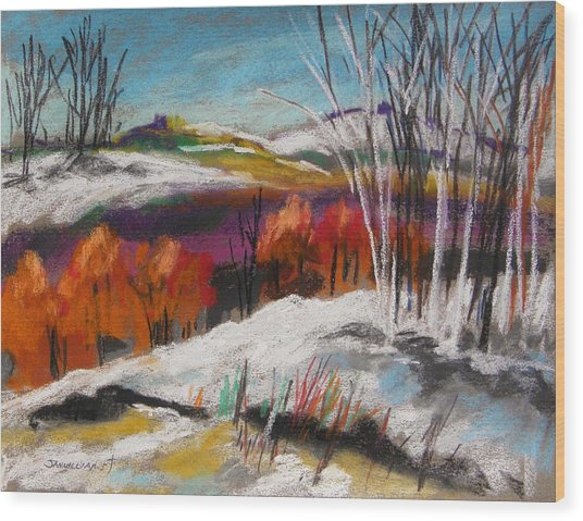 Snow On The Hills Wood Print by John Williams