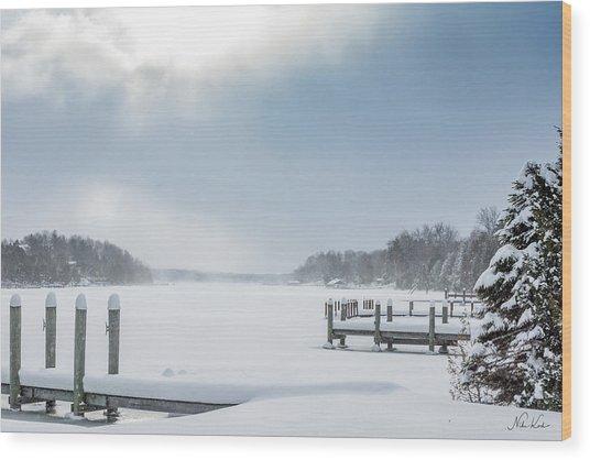 Snow On The Lake Wood Print