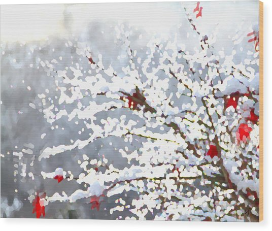 Wood Print featuring the digital art Snow On The Maple by Shelli Fitzpatrick