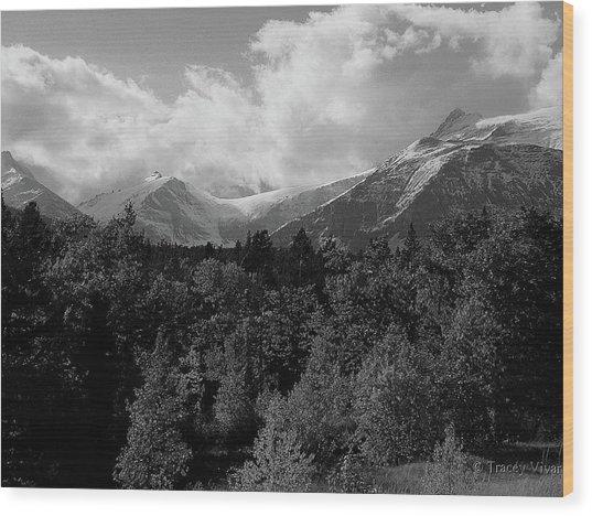 Snow On The Mountains Wood Print
