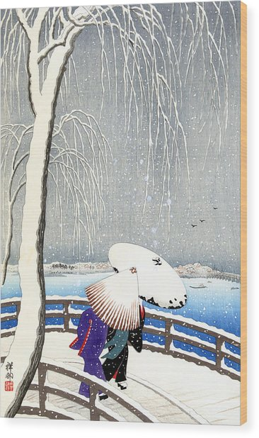 Snow On Willow Bridge By Koson Wood Print
