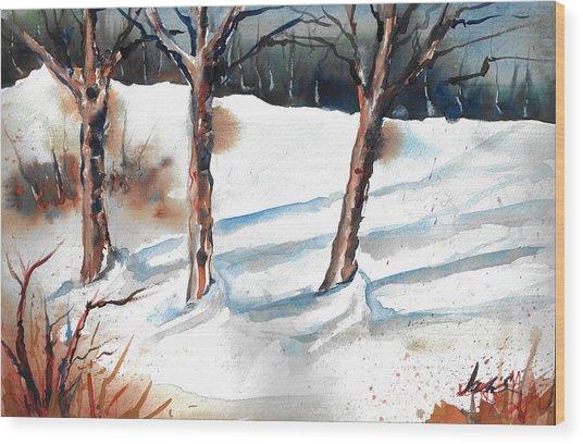 Snow Orchard Wood Print