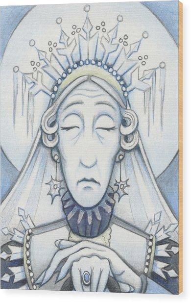 Snow Queen Mum Slumbers Wood Print by Amy S Turner