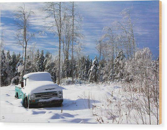 Snow Truck Wood Print