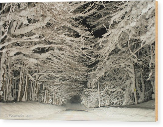 Snow Tunnel At Night Wood Print