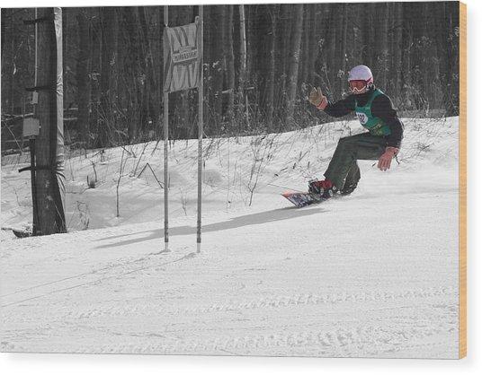 Snowboard Racer Wood Print