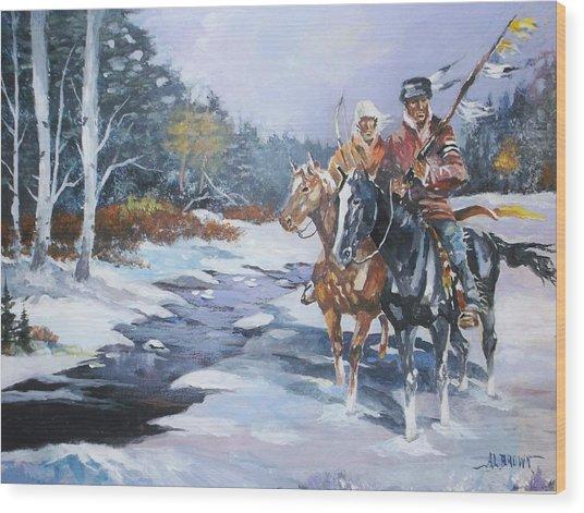 Snowbound Hunters Wood Print