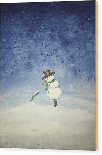 Wood Print featuring the painting Snowfall by Antonio Romero
