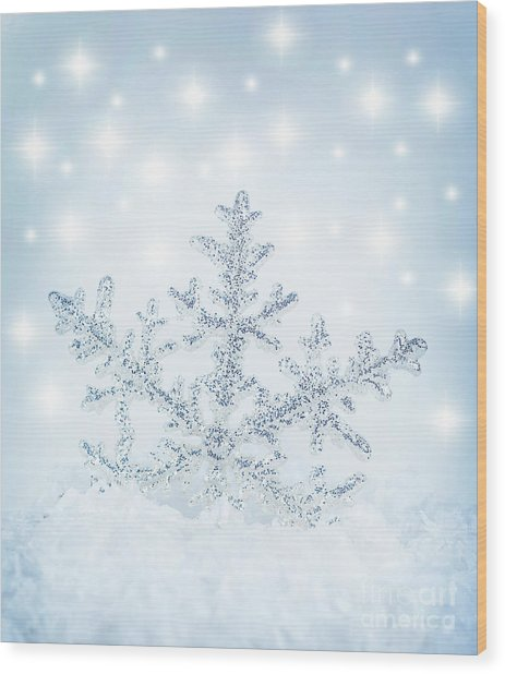 Snowflake Background Wood Print