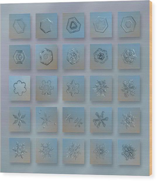 Snowflake Collage - Season 2013 Bright Crystals Wood Print