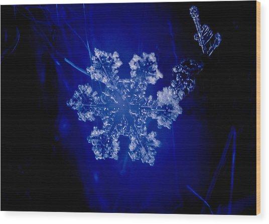 Snowflake On Blue Wood Print