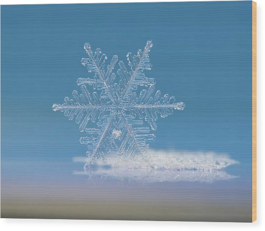 Wood Print featuring the photograph Snowflake Photo - Cloud Number Nine by Alexey Kljatov