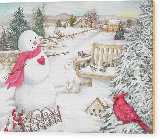 Snowman Cardinal In Winter Garden Wood Print