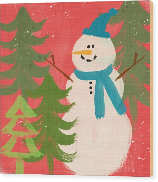 Snowman In Blue Hat- Art By Linda Woods Wood Print