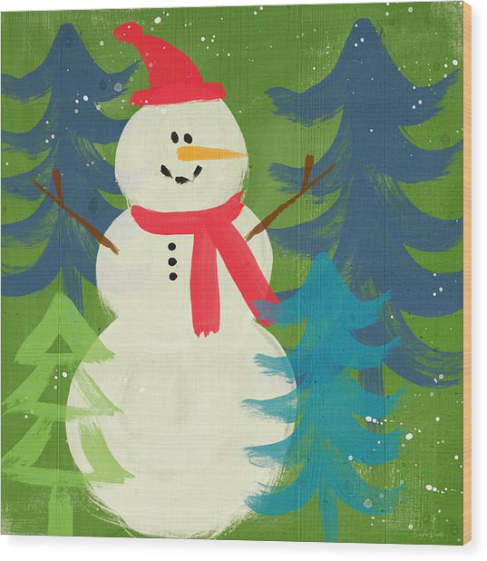 Snowman In Red Hat-art By Linda Woods Wood Print