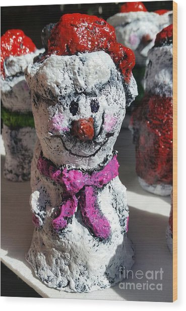 Wood Print featuring the sculpture Snowman Pink by Vickie Scarlett-Fisher