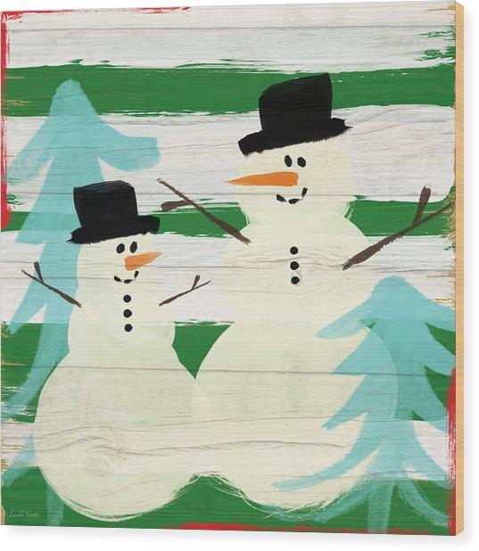 Snowmen With Blue Trees- Art By Linda Woods Wood Print