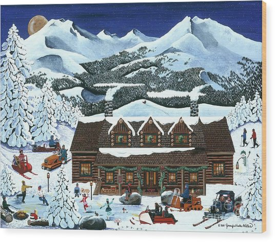 Snowmobile Holiday Wood Print