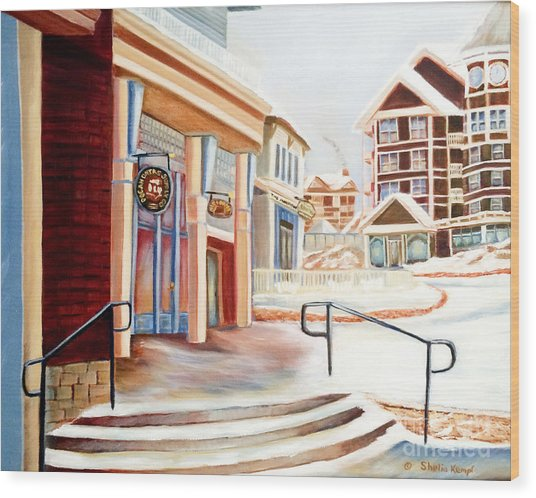 Snowshoe Village Shops Wood Print