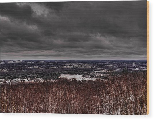 Snowstorm Clouds Over Rib Mountain State Park Wood Print