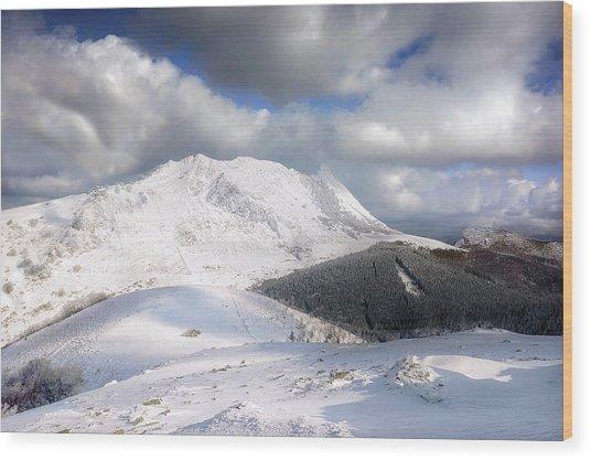 snowy Anboto from Urkiolamendi at winter Wood Print