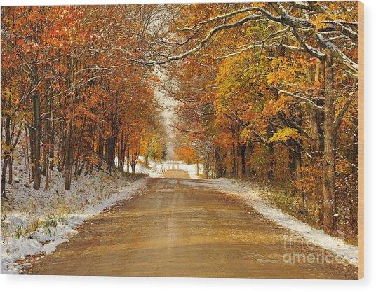 Snowy Autumn Morning In Pure Michigan Wood Print