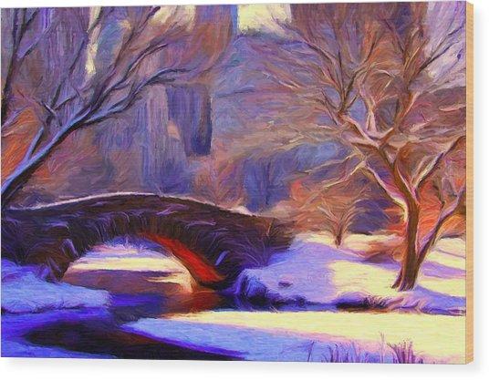 Snowy Central Park Wood Print
