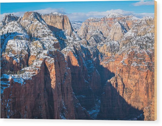 Snowy Cliffs Of Zion National Park Wood Print